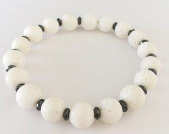 Coral & Hematite Beaded Bracelet