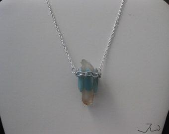 Clear quartz chain necklace with Aquamarine