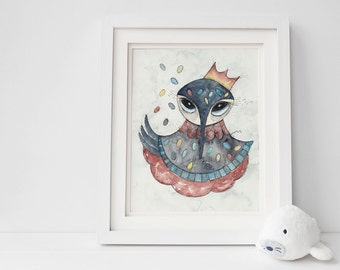 Swan king print, children's rooms print, whimsical art print
