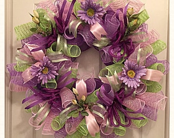 Purple Daisy Deco Mesh Wreath/Spring Wreath/Purple, Lime and Pink Spring Wreath