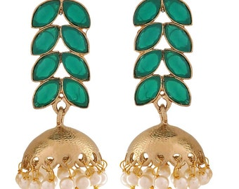 Bollywood Jewelry Beautiful Green White Stone Festival Drop Earrings MY5915