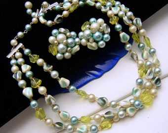 Vintage Signed Japan Necklace Earring Set Mixed Bead Faux Pearl Spring Colors