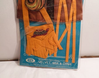 Original, Frontier Gear, fringe, 1972 Ideal Velvet, Crissy Cousin, Ideal Doll, Velvet, Outfit, Mint in Box,  Mod outfit, Mia, Dina, cricket
