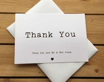 Typewriter Script Wedding Thank You Note Card Packs, Thank You Cards