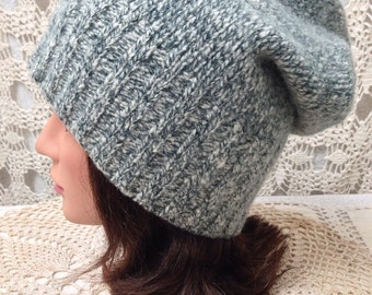 Sweater hat-Upcycled-recycled felted forest green and off white lambswool slouch hat-made from sweaters