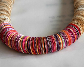 Red,Pink,Orange,Yellow,White paper necklace, Statement necklace, Book paper Necklace ,Colorful paper necklace, Recycled Paper,