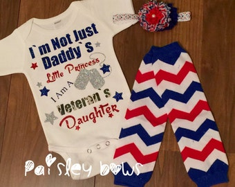 Veteran's Daughter outfit, military daddy onesie, army onesie, marine onesie outfit, patriotic military outfit
