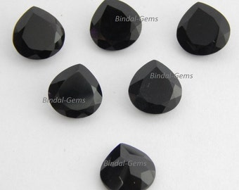 Wholesale Lot 10 Pieces Black Onyx Heart Shape Faceted Cut Loose Gemstone For Jewelry