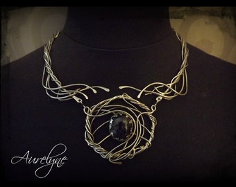"Stainless Necklace Diabolique ""Milady de Winter"" stone Iolite Baroque Victorian fairytale dream elven"