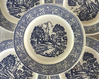 vintage blue and white dessert plate, Homer Laughlin Shakespeare plates, blue pattern salad plate, wedding table plate, blue and white china