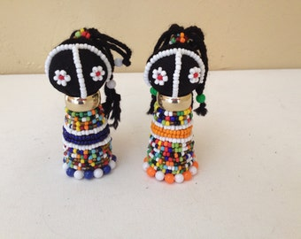 Vintage Pair of African  Zulu Sangoma dolls with very nice wire bead work