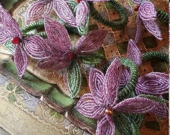 Vintage Beaded Flower Napkin Rings
