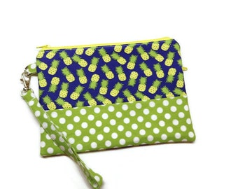 Zippered pineapple fabric clutch wristlet wallet, phone purse. Pineapple & polka dots. Machine embroidery monogram available. Gift for her.