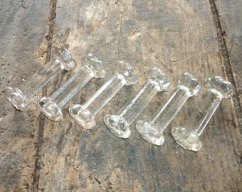 six French glass cutlery/knife rests