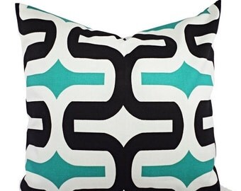 CLEARANCE One Decorative Pillow Covers Jade Green Black and White - Throw Pillow - Geometric Pillow Cover - Premier Prints Embrace Pillow