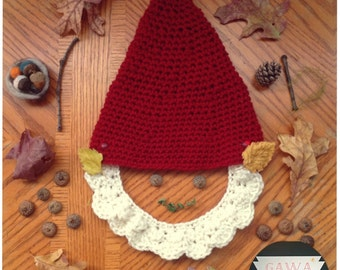 Garden Gnome Hat -Red-Crochet-toddler