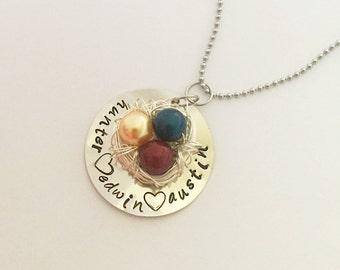 Birds Nest Necklace with Custom Disc