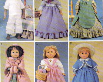 McCalls Pattern 2609 an American Girl Doll Size Clothing Patterns 6 Outfits, 18 Inch Doll Dresses and Pinafores Sewing Pattern