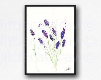 Lavender Watercolor Painting Art Print Watercolor Print Purple Floral Art Print Lavender Wall Art Watercolor Abstract Art Unframed