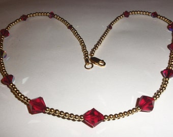 Birthstone (July) Crystal and Gold Necklace