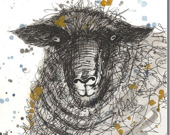 Sheep's Head Greeting Card - Sheep Card, Animal Watercolour