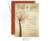Fall in Love Bridal Shower Invitation, Fall Theme Bridal Shower Invite, Fall in Love Engagement Invite, PRINTED or DIGITAL - Item# DBP4004