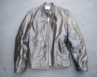 Vintage Black Leather Motorcycle Biker Riding Cafe Racer Men's Jacket Coat Size 38