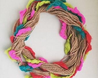 Alpaca Art Yarn, Thick and Thin, Bumps of Hand Spun Neon Merino, Textured Yarn, 71 yard skein, Edge Work Yarn, Decorative Yarn