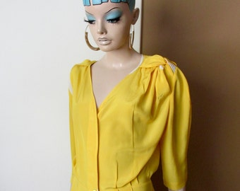 Vintage Krizia dress.100% silk dress by Krizia.Long yellow and white silk dress.Italian vintage silk dress.