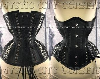 Black satin mesh underbust waist training tightlacing steel boned corset MCC-68 MystiC City Corsets