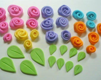 24 ROLLED FONDANT ROSES and 12 Leaves Cake Cupcake Decorations