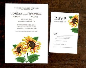 Printed Sunflower wedding invitation and RSVP