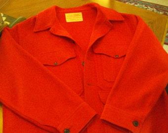 Vintage 1960-70s Filson Red Wool Mackinaw Hunting Jacket, XL-XXL