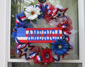 Patriotic wreath, 4th of July, red white and blue wreath with hand painted canvas saying AMERICA over Stars / Stripes flag, summer decor