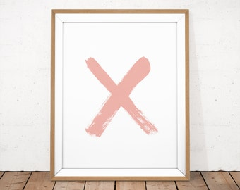 XO Print, Minimalist Print, Letter X Print, Pink Paint Wall Art, Blush Pink Poster, Brush Stroke Poster, Abstract Printable, Ink Wall Art