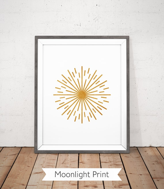 Sunburst Printable, Sunburst Wall Art, Gold Sun Ray Printable, Yoga Room Poster, Retro Printable, Sparkle Printable, Meditation Wall Art
