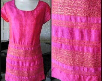 THAI Silk Dress / Vintage 60s Thai Silk Dress / 60s Boho Pink Dress / S / Neon Pink Silk Dress / Vintage Boho Dress