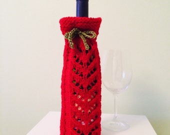 Wine bottle cozy, hand knit wine bottle sleeve, red wine bottle cozy, hostess gift, wine bottle sleeve,wine accessories, house warming gift