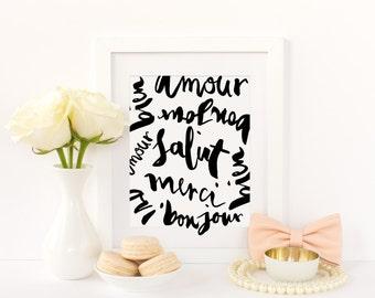 French Words Print - French Print - Fashion Print - Fashion Art