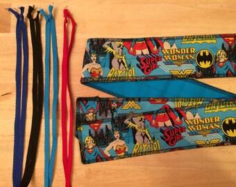 Choose Your Color of Ties Wonder Woman Batgirl Super Girl DC Comics cross fit Wrist Wraps