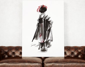 Geisha Art Print, Japanese Style Poster, Asian Woman, Kimono Giclee Print, Woman Gift Idea.