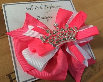 Glow in the Dark Hair Bow, Princess Bow, Neon Pink Hair Bow, Boutique Bow, Toddler Bow, Stacked Bow, Glow in the Dark Bow