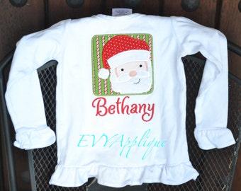 Girls Personalized Christmas Shirt Santa, girls Santa Christmas shirt or tee, Christmas shirt with name!  Personalized Santa Shirt Girl