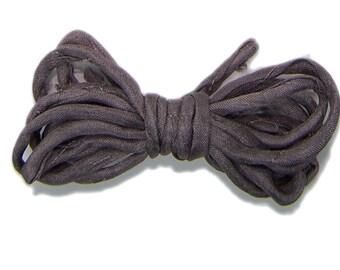 Hand dyed silk cord - MUD- silk string