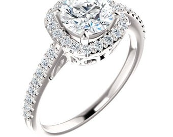 Forever One  Moissanite Halo Diamond Engagement Ring in 14k White Gold - ST14817 (Other stone options available) Certified Appraisal