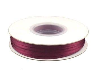 1/8 Inch Double Faced Satin Ribbon - Wine - 100 Yard Spool
