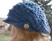 SALE 15% OFF Gray blue Crocheted  PEAKED Cap beanie Slouchy Winter Fashion , very warm,women hat,Girls Hat,unique gifts