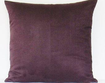 Purple Suede Pillow Cover Decorative Throw Pillow Plum 16x16 18x18 20x20 22x22 12x14 12x16 12x18 12x20 14x22 Accent Zipper