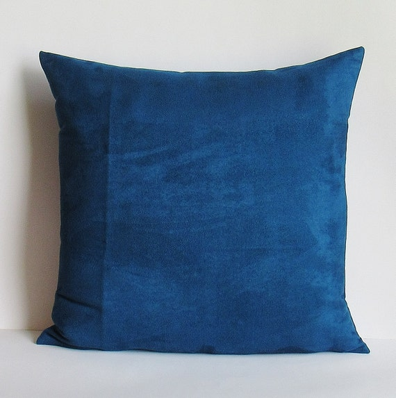 Blue Suede Pillow Cover Decorative Throw Teal Accent Toss Sofa