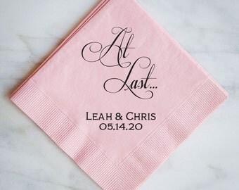 Personalized At Last Wedding Napkins, Custom Wedding Napkins, Personalized Napkins, Wedding Favors, Custom Printed Napkins